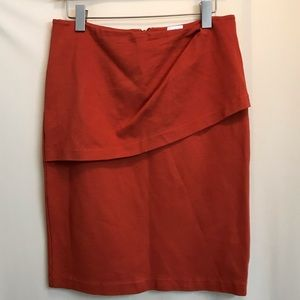 CAbi style#3099 Burnt orange overlay pencil skirt
